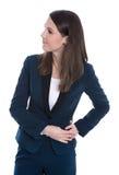 Ritratto di giovane donna sorridente di affari isolata su bianco Immagini Stock Libere da Diritti