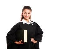Ritratto di giovane giudice femminile, isolato sopra immagini stock