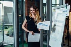 Ritratto di giovane imprenditore femminile che porta vestito convenzionale che tiene il rapporto finanziario che sta nell'ufficio fotografia stock