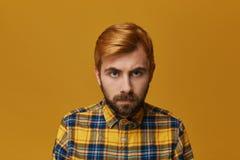 Ritratto di giovane maschio dei pantaloni a vita bassa con il bieng tinto della barba e della testarossa pazzo ed arrabbiato circ Fotografia Stock Libera da Diritti