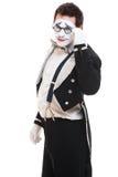Ritratto di giovane mime sui vetri Fotografie Stock