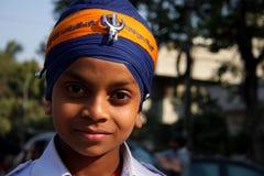 Ritratto di giovane ragazzo sikh Fotografia Stock Libera da Diritti
