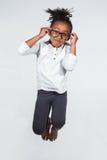 Ritratto di giovane salto della ragazza dell'afroamericano Fotografia Stock Libera da Diritti