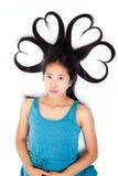 Ritratto di giovane teenager asiatico con capelli in forma di cuore Fotografie Stock Libere da Diritti