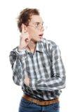 Ritratto di giovane uomo bello sopra bianco Fotografie Stock Libere da Diritti