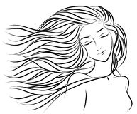 Ritratto di Handdrawing di una ragazza con capelli Fotografia Stock