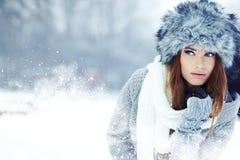 Ritratto di inverno della donna. Dof basso. Immagine Stock