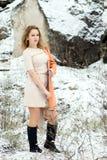 Ritratto di inverno della ragazza Fotografia Stock Libera da Diritti