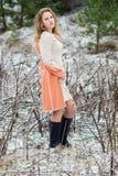 Ritratto di inverno della ragazza Fotografie Stock Libere da Diritti