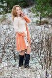 Ritratto di inverno della ragazza Fotografia Stock