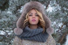 Ritratto di inverno di bella donna sorridente con i fiocchi di neve in pellicce bianche fotografia stock