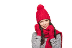 Ritratto di inverno di bella femmina immagine stock libera da diritti