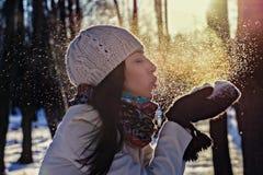 Ritratto di inverno di bella ragazza Immagini Stock