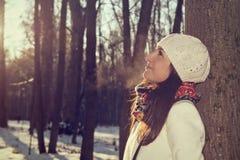 Ritratto di inverno di bella ragazza allegra Immagini Stock Libere da Diritti