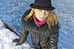 Ritratto di inverno di una donna Fotografia Stock Libera da Diritti