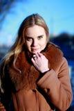 Ritratto di inverno Giovane, bella donna nello sguardo del vestito da inverno Immagini Stock