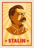 Ritratto di Joseph Stalin Di stile sovietico stilizzato del manifesto Il capo dell'URSS Simbolo rivoluzionario russo Fotografia Stock Libera da Diritti