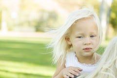 Ritratto di Meloncholy della bambina sveglia fuori Immagine Stock Libera da Diritti