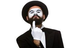 Ritratto di mimo con indicare dito Immagini Stock Libere da Diritti
