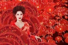 Ritratto di modo della donna di stile cinese Immagine Stock