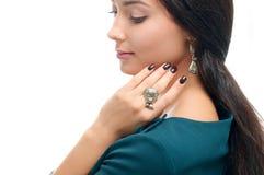 Ritratto di modo di bella giovane donna in alla moda Ha alla moda Fotografia Stock Libera da Diritti