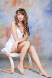 Ritratto di modo di bella ragazza bionda Fotografia Stock