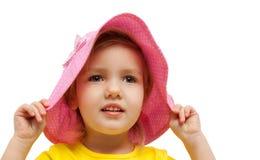 Ritratto di modo di sguardo del cappello di rosa della ragazza del bambino Fotografia Stock