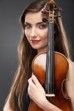 Ritratto di musica della giovane donna Gioco del violino Immagini Stock Libere da Diritti