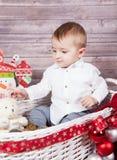 Ritratto di Natale del neonato Immagine Stock