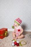 Ritratto di Natale del neonato Fotografia Stock