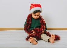 Ritratto di Natale del ragazzo adorabile del bambino Immagine Stock Libera da Diritti