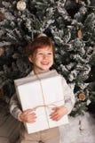 Ritratto di Natale di un'atmosfera accogliente del giovane ragazzo intorno all'albero di Natale Bambino sveglio che tiene il cont Fotografia Stock Libera da Diritti