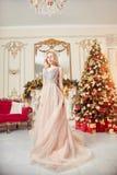 Ritratto di Natale di una ragazza in un vestito festivo brillante sui precedenti della decorazione di Natale nell'interno elegant fotografia stock libera da diritti