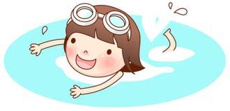 Ritratto di nuoto della ragazza illustrazione vettoriale
