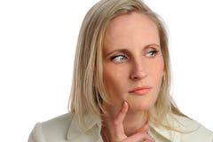 Ritratto di pensiero della donna di affari Fotografie Stock Libere da Diritti