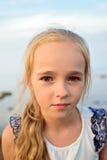 Ritratto di piccola ragazza sveglia sul tramonto Immagine Stock Libera da Diritti
