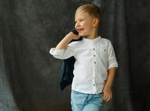 Ritratto di poco bel ragazzo sorridente in jeans sopra il tessuto grigio Immagini Stock