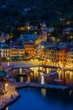 Ritratto di Portofino di notte in un giorno di autunno immagine stock libera da diritti
