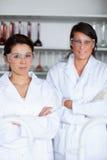 Ritratto di posizione femminile degli allievi di scienza Fotografia Stock