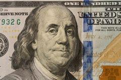 Ritratto di presidente Benjamin Franklin sulla banconota in dollari 100 clo fotografie stock libere da diritti