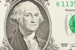 Ritratto di presidente George Washington su 1 banconota in dollari fine fotografia stock