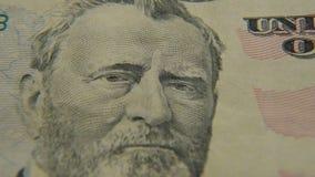 Ritratto di presidente Grant su una banconota in dollari cinquanta archivi video