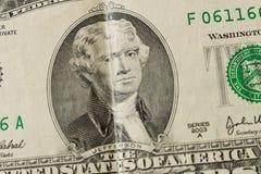 Ritratto di presidente Thomas Jefferson su una banconota in dollari 2 clos fotografia stock