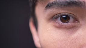 Ritratto di profilo del primo piano di giovane maschio coreano attraente con l'occhio marrone che esamina macchina fotografica video d archivio