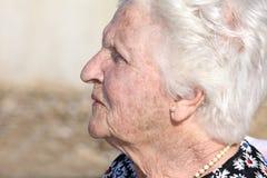 Ritratto di profilo dell'anziana Fotografia Stock