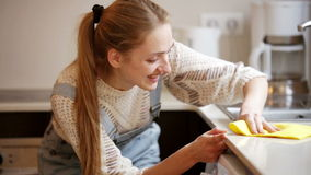 Ritratto di pulizia positiva della casalinga stock footage