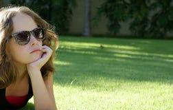 Ritratto di riserva della ragazza pensive Fotografie Stock