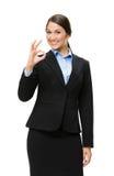 Ritratto di ritratto a mezzo busto di gesturing giusto della donna di affari Fotografia Stock Libera da Diritti