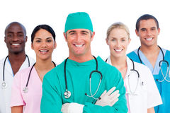Ritratto di riuscito gruppo di medici fotografie stock
