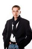 Ritratto di riuscito uomo attraente di affari in cappotto nero Fotografie Stock